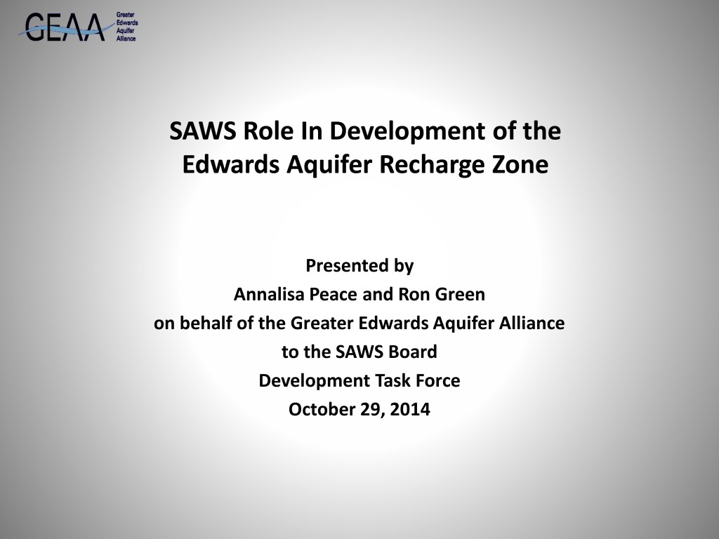 SAWS Role In Development of the Edwards Aquifer Recharge Zone