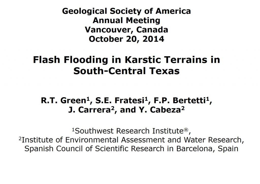 Flash Flooding in Karstic Terrains