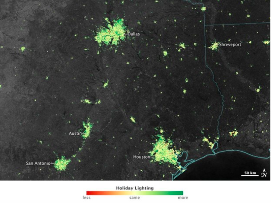 America's holiday lights can be seen from space