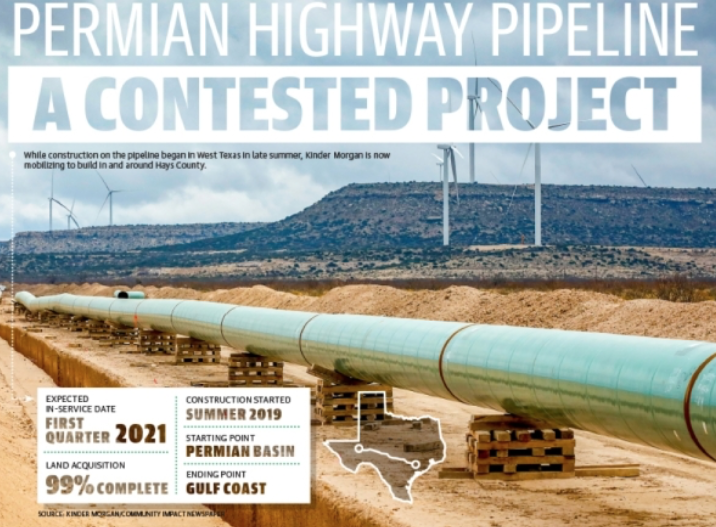 Kinder Morgan mobilizes for pipeline construction in Central Texas; opponents prepare to sue