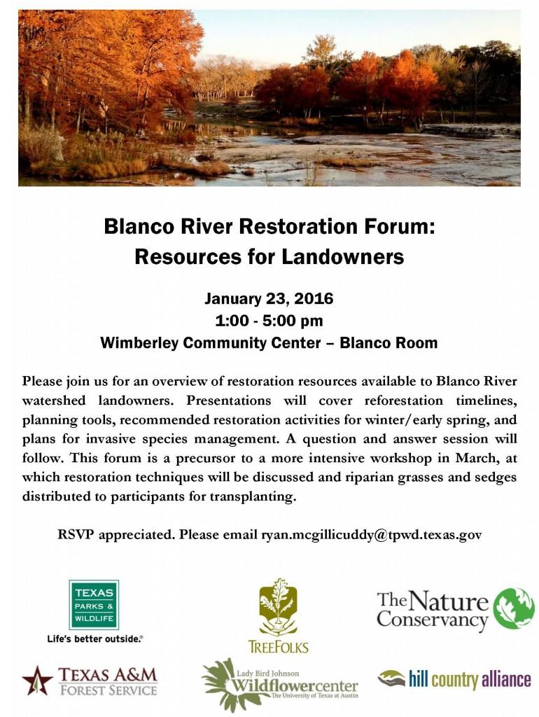 Blanco River Restoration Forum