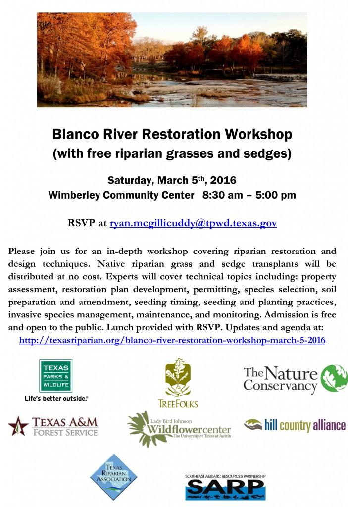 Blanco River Restoration Workshop 3-5-16