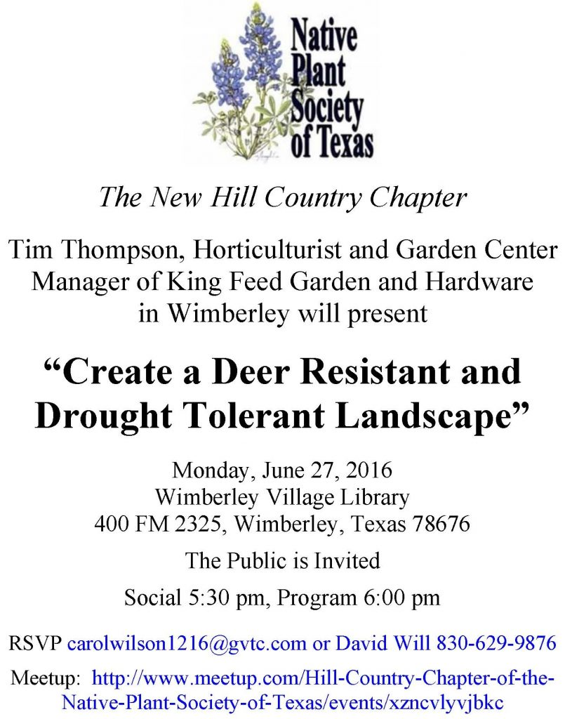 NPSOT Hill Country Flyer June 2016