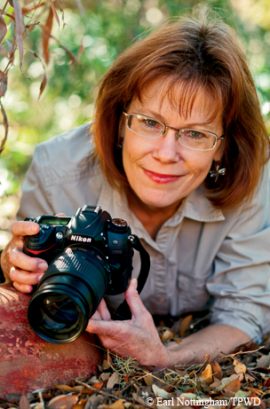 Sheryl Smith-Rodgers with Texas Master Naturalists photographed at home in Blanco, TX for TPW magazine story