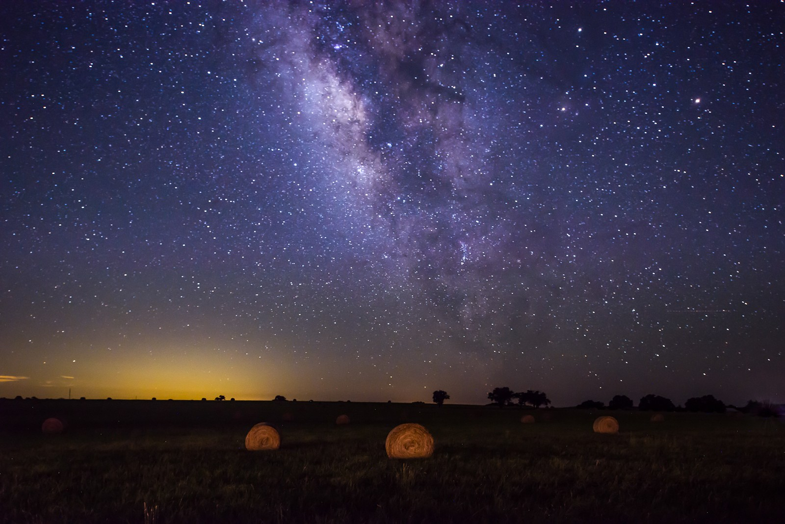 Milky Way Over The Hay Bails.