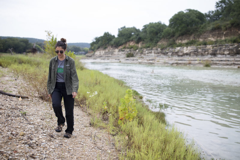 Ina Alexatos From TreeFolks Walks Along The Blanco River Through A Riparian Area That She Is Working To Restore. Austin Price/Reporting Texas