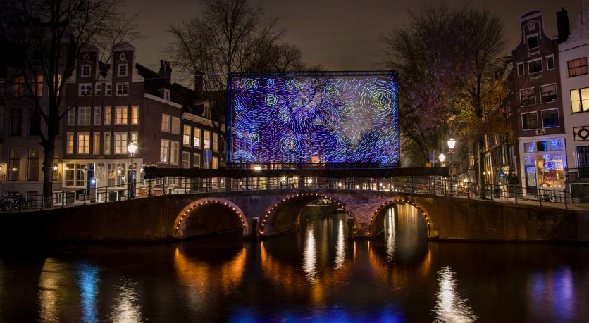 Van Gogh's Starry Night reimagined as Amsterdam Light Festival installation