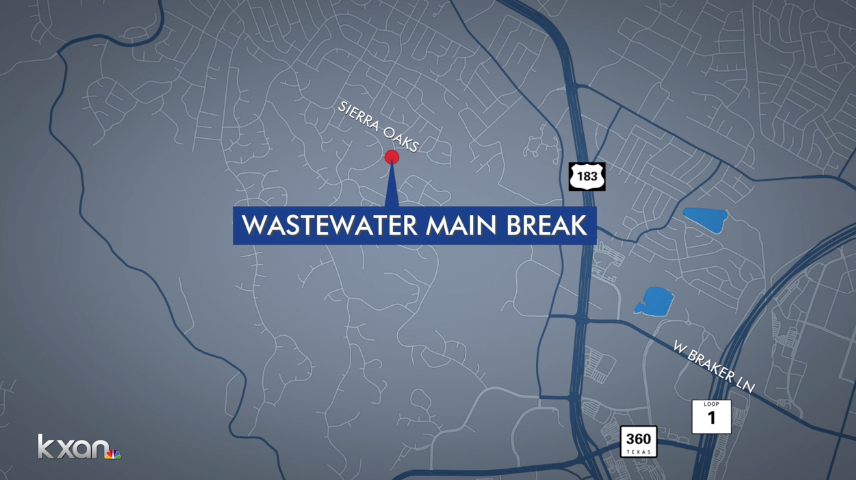 Austin wastewater main break causes 100,000-gallon sewage spill