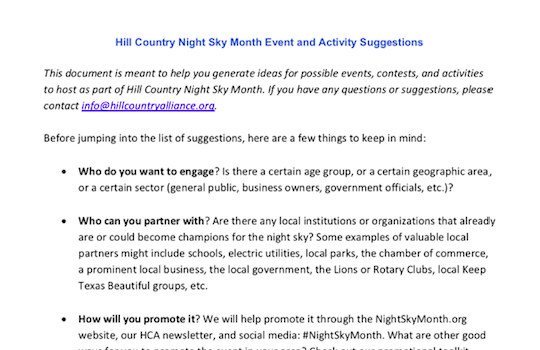 Hill Country Night Sky Month Event and Activity Suggestions