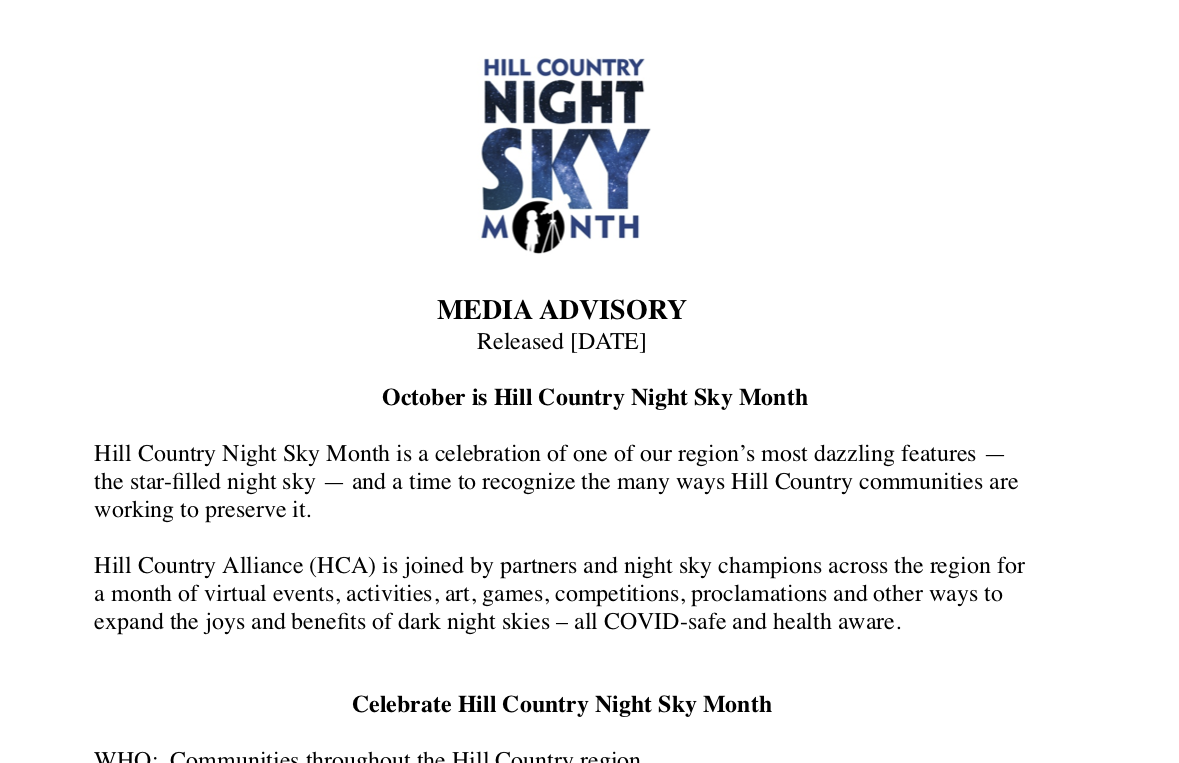 Filler Media Advisory - Night Sky Month