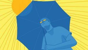 illustration of a man standing in the sun with an umbrella