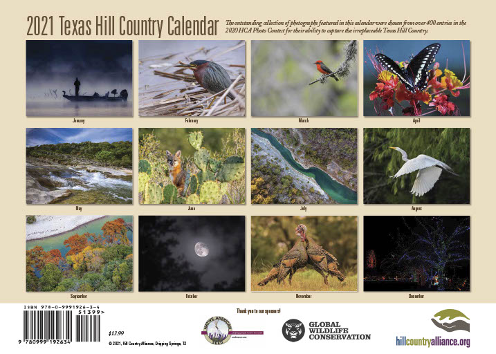 Back Cover of the 2021 Hill Country Calendar
