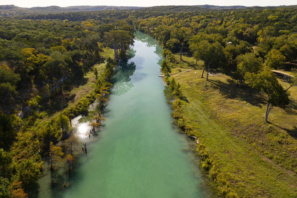 Aerial Photograph Of Blanco River Flowing Through El Rancho Cima Property
