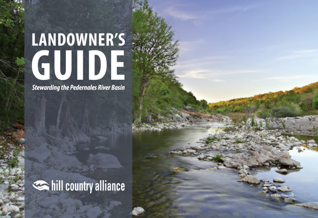 Cover image featuring the Pedernales River - click to read the Landowner's Guide to stewarding the Pedernales River Basin