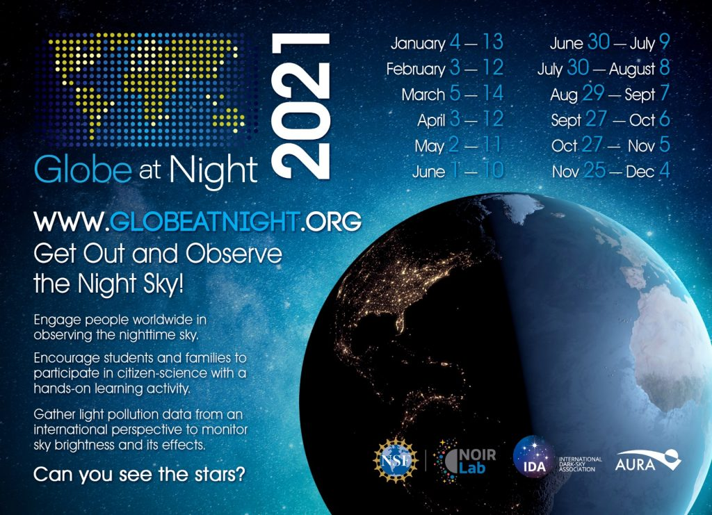 Chart of globe at night observation dates 2021