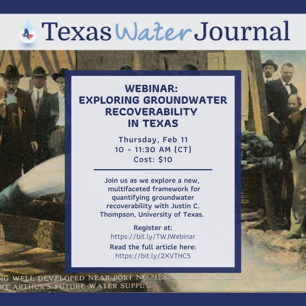 Flyer showing details of Texas Water Journal Webinar on Feb. 11, 2021