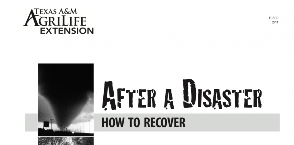 Texas A&M AgriLife Extension - After a Disaster PDF