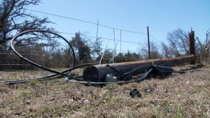 A down power line. (Matthew Mershon/Spectrum News 1)