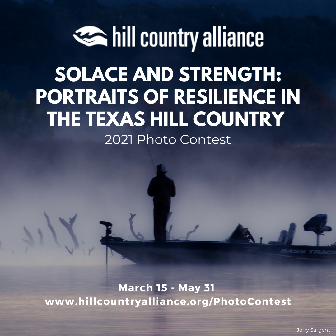 """Man Standing In A Fishing Boat - Click To Learn More About The 2021 Hill Country Photo Contest - """"Solace And Strength: Portraits Of Resilience In The Texas Hill Country"""""""
