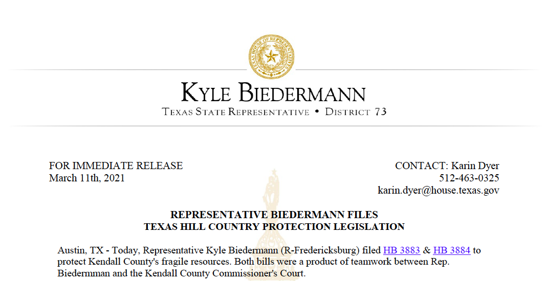 Representative Biedermann Files Texas Hill Country Protection Legislation