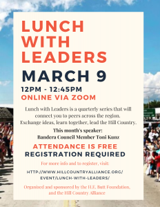 Lunch with Leaders Flyer - March 9 from 12-12:45 PM
