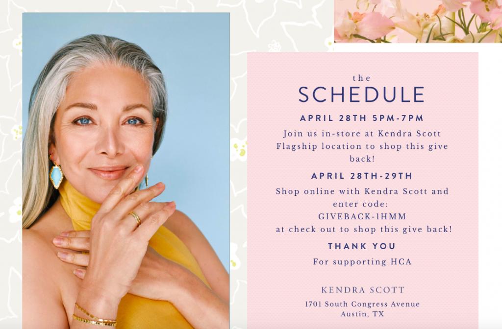 Kendra Scott event schedule - 4.28.21