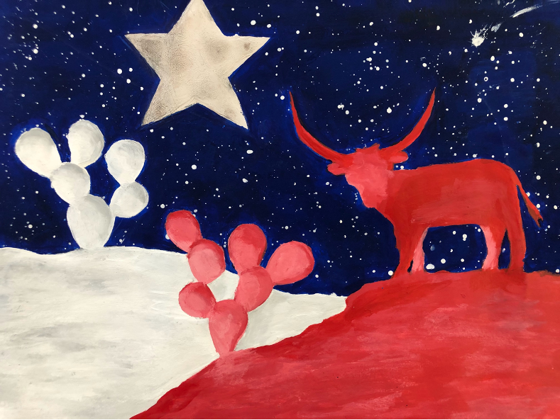 Marlen Torres' painting took 1st place in the High School competition