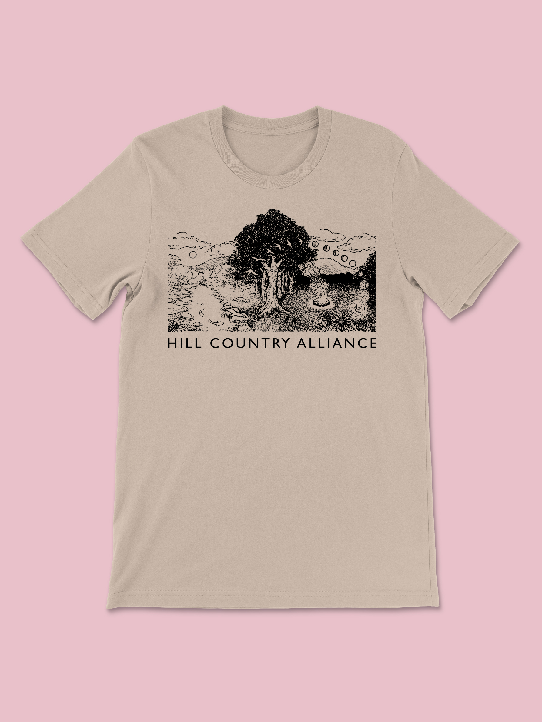 HCA Limited Edition Tan Shirt Design 2021 - Featuring A River, Tree, And Evening Campfire Scene