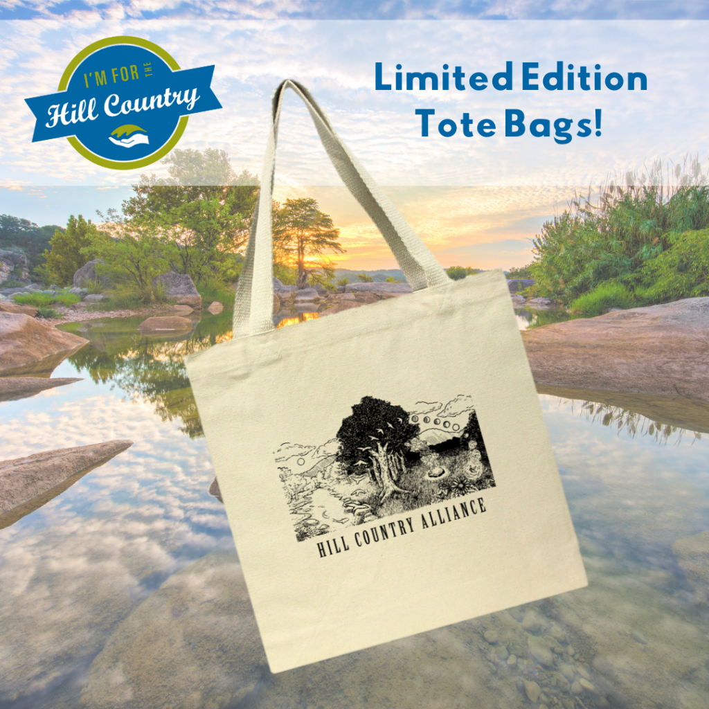 Tote bag with hill country scene