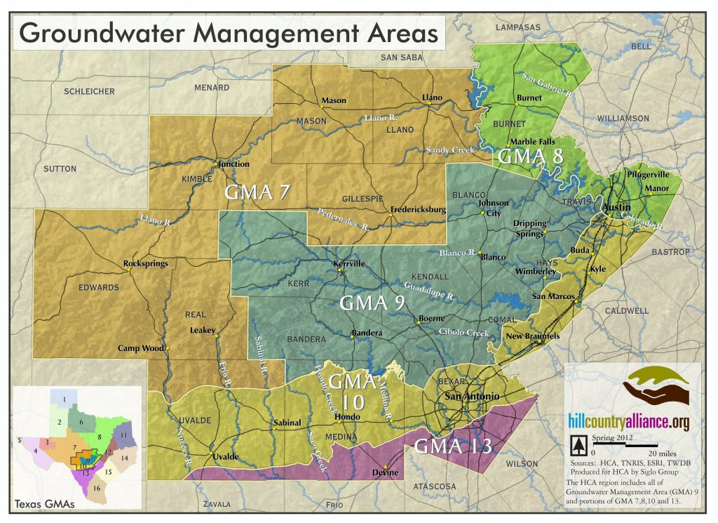 map showing the groundwater management areas located in the Hill Country