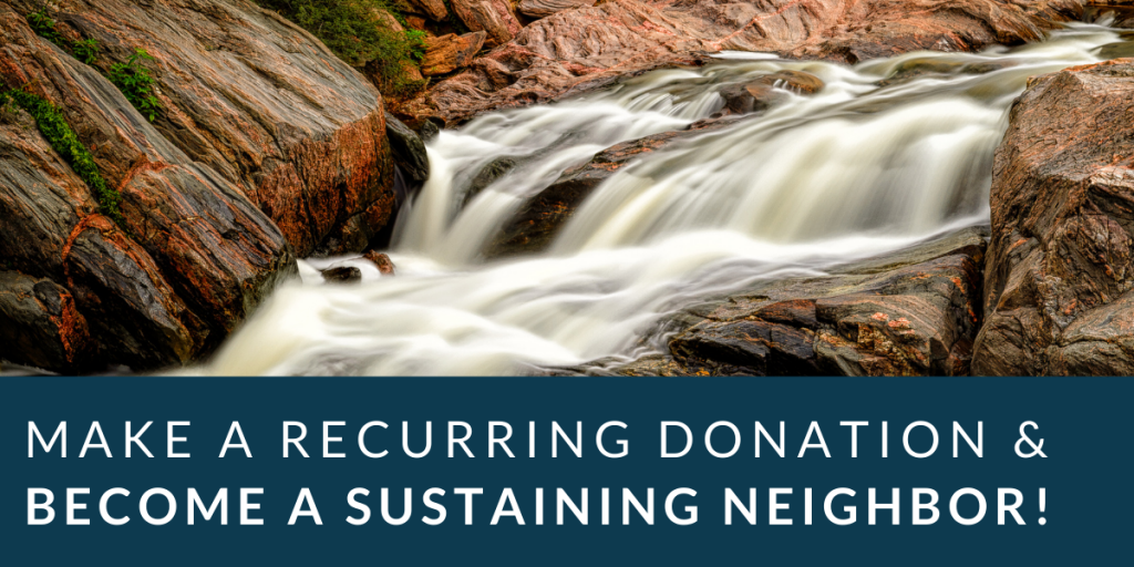 A waterfall flows in the background of a flyer advertising donations