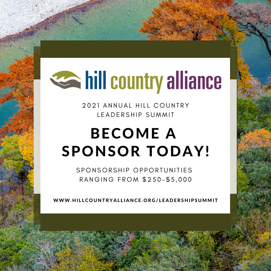 - Photo Description: A Beautiful Fall Gradient Of Color Is Shown On The Rocky Bank Of The Frio River - A Vivid Blue River Lined With Orange, Yellow And Green Trees. Text Overlay Reads: 2021 Annual Hill Country Leadership Summit: Become A Sponsor Today