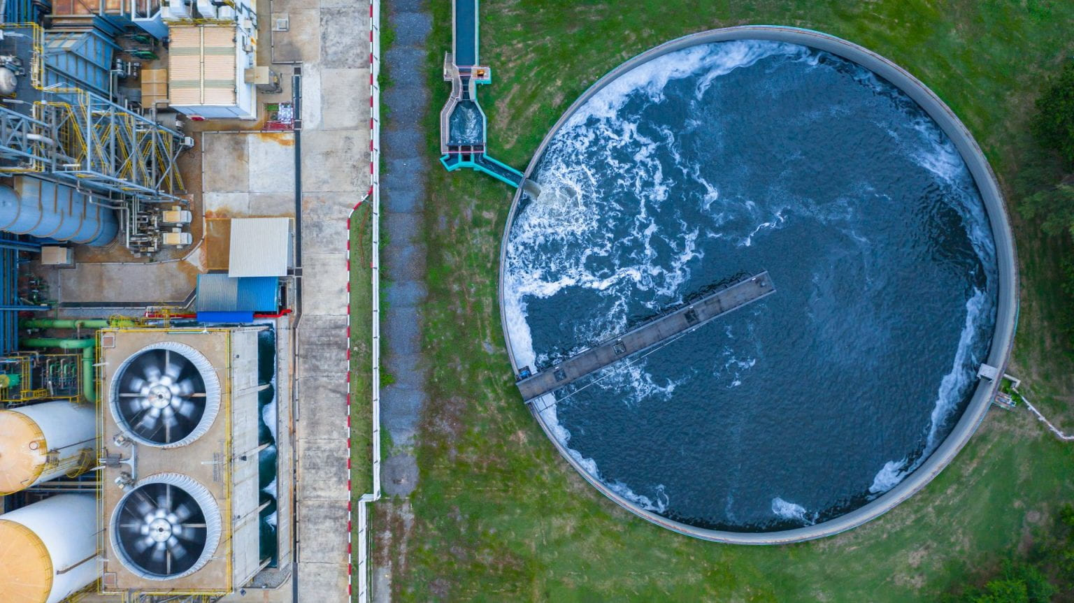 Aerial Photo Of A Wastewater Treatment Plant
