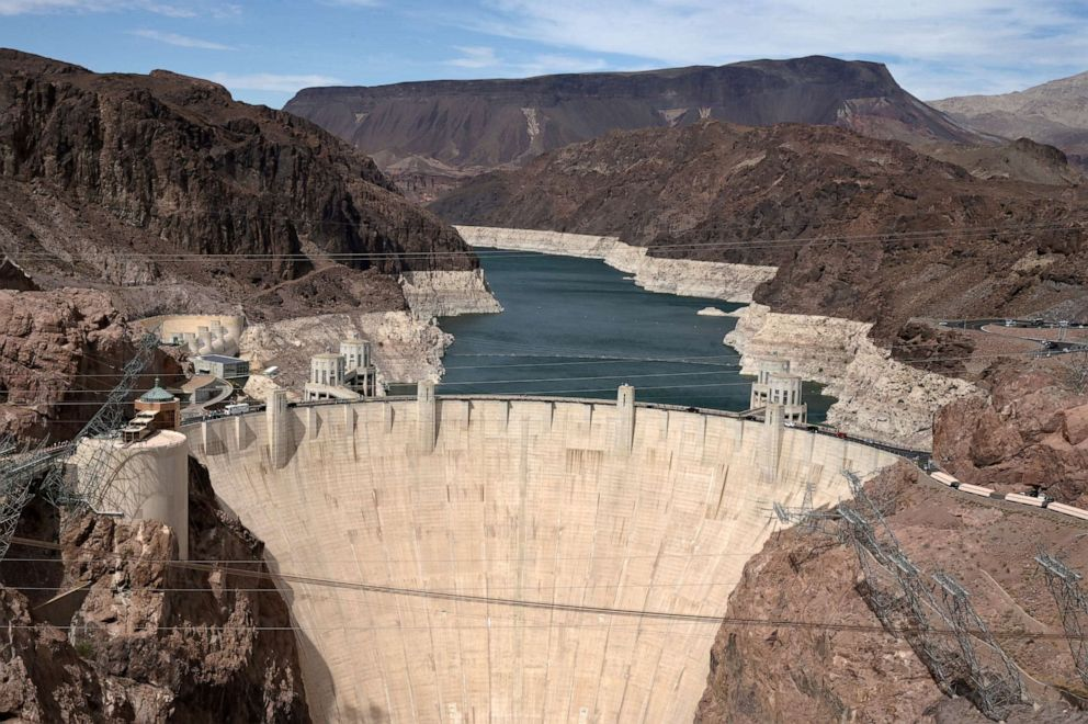 Photo Of The Hoover Damn Where The Original Water Line Is Exposed Showing How Low The Resevoir Has Become During The Draught