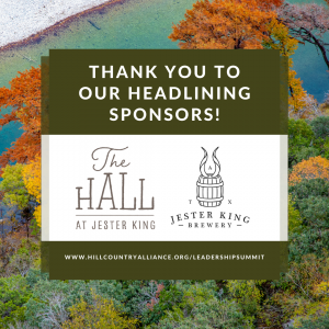 - Photo Description: A beautiful fall gradient of color is shown on the rocky bank of the Frio River - a vivid blue river lined with orange, yellow and green trees. Text overlay reads: Thank you to our headlining sponsors - The Hall at Jester King and Jester King Brewery