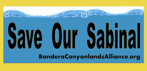 Save Our Sabinal Logo displays a blue wave over a white and yellow backdrop