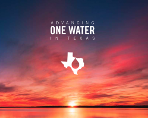 """A brilliant pink and red sunset over a lake. Text reads """"advancing one water in Texas."""""""