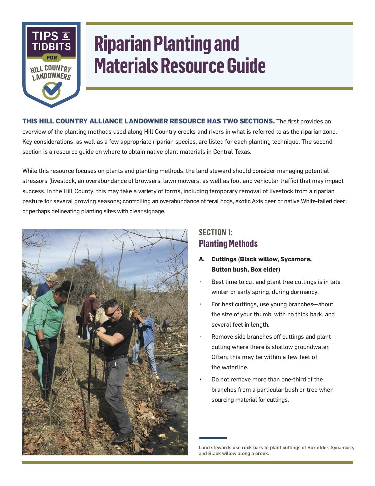 """Cover for PDF """"Riparian Planting and Materials Resource Guide"""""""