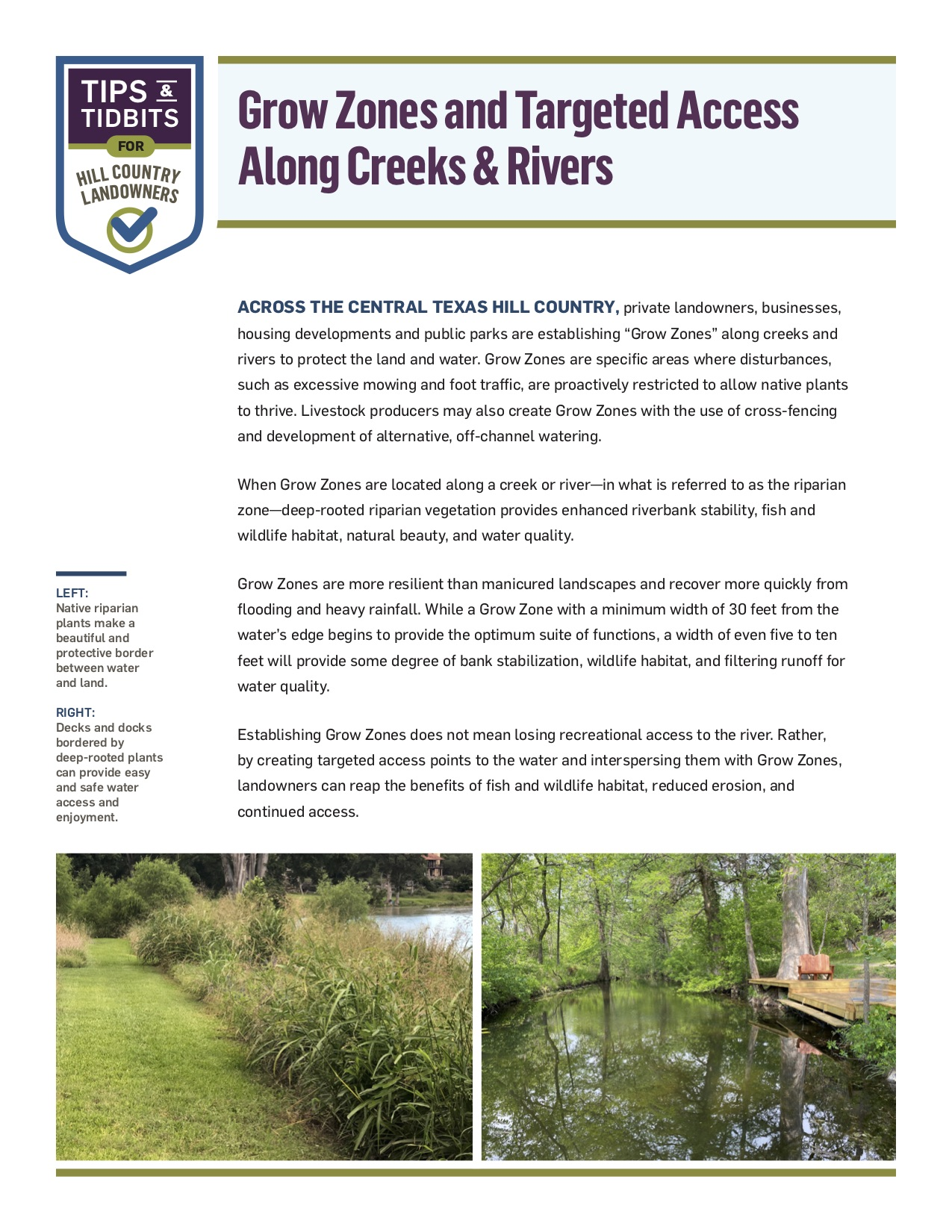 """Cover for PDF """"Grow Zones and Targeted Access Along Creeks & Rivers"""""""
