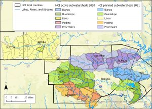 Map showing areas in Central Texas participating in Healthy Creeks Initiative