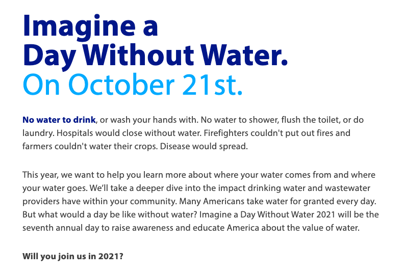 Imagine a Day without Water - October 21st