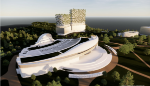 A computer rendered concept of the Violet Crown amphitheater
